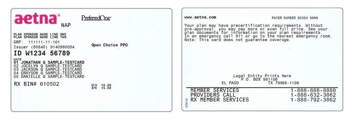 Example Aetna health insurance card